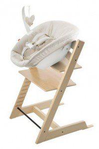 Stokke kinderstoel met newborn set waar je kindje goed in kan zitten.