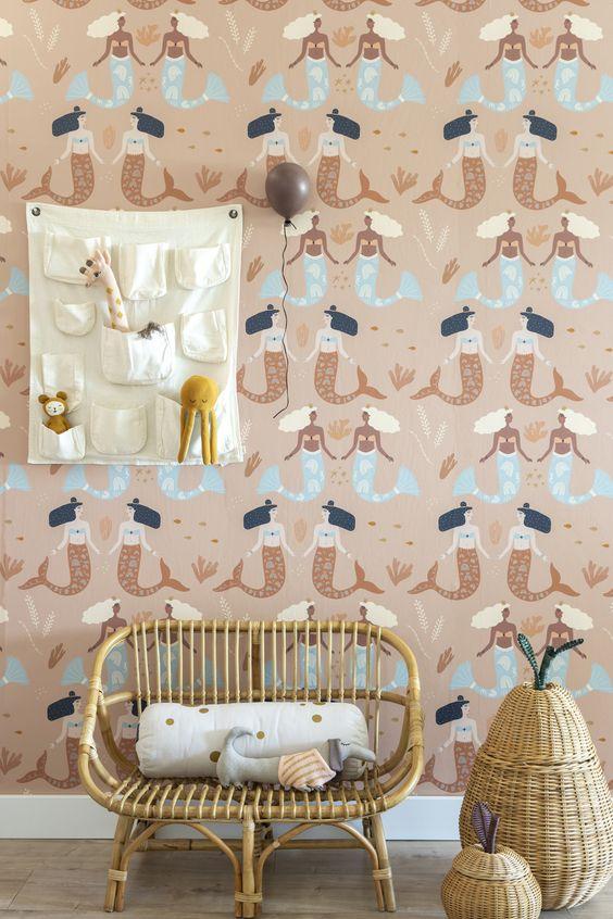 Behang met zeemeerminnen van May and Fay | meisjeskamer behang