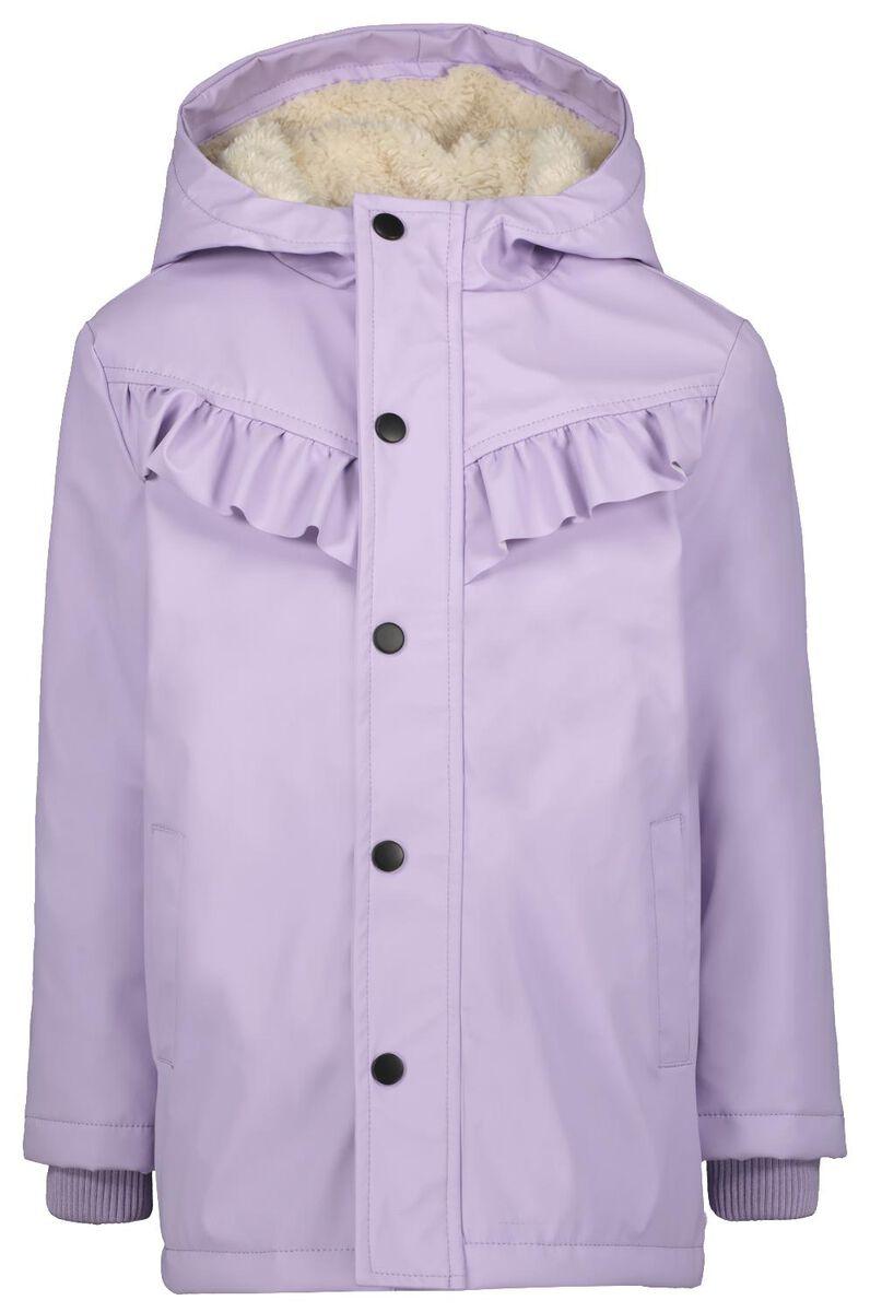 Lila winterjas met ruffles   Winterjassen voor meisjes
