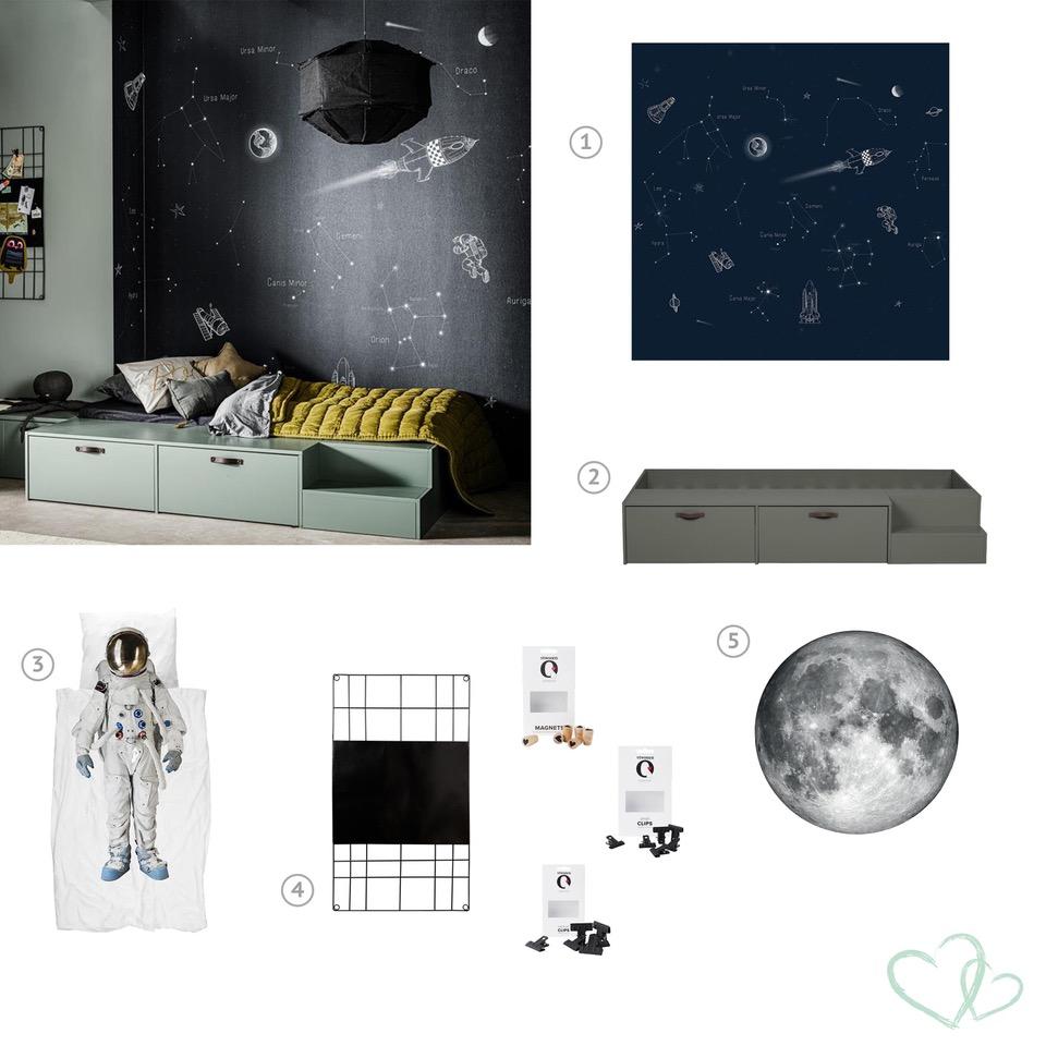 Muurdecoratie voor de kinderkamer in thema ruimtevaart