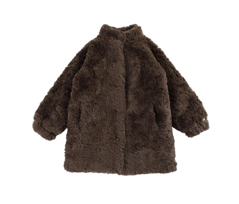 Bruine Teddy van dons bij Donsje   Winterjassen voor meisjes