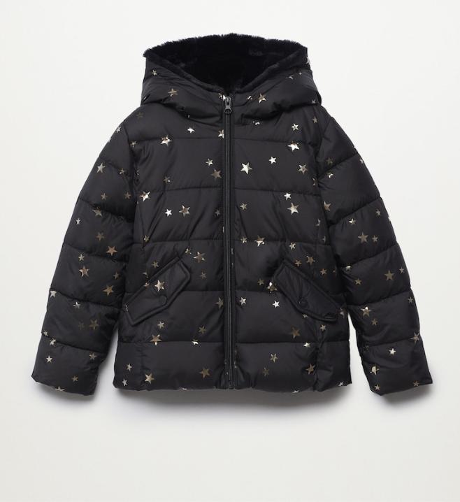 Zwarte gewatteerde jas met sterren   Winterjassen voor meisjes