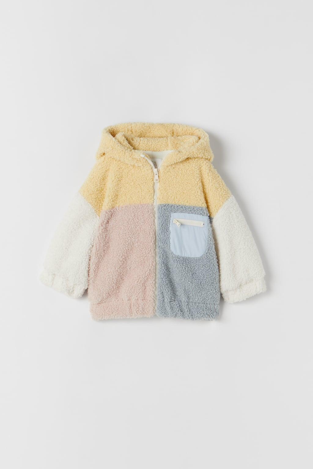 Teddy jas met blokken   Winterjassen voor meisjes
