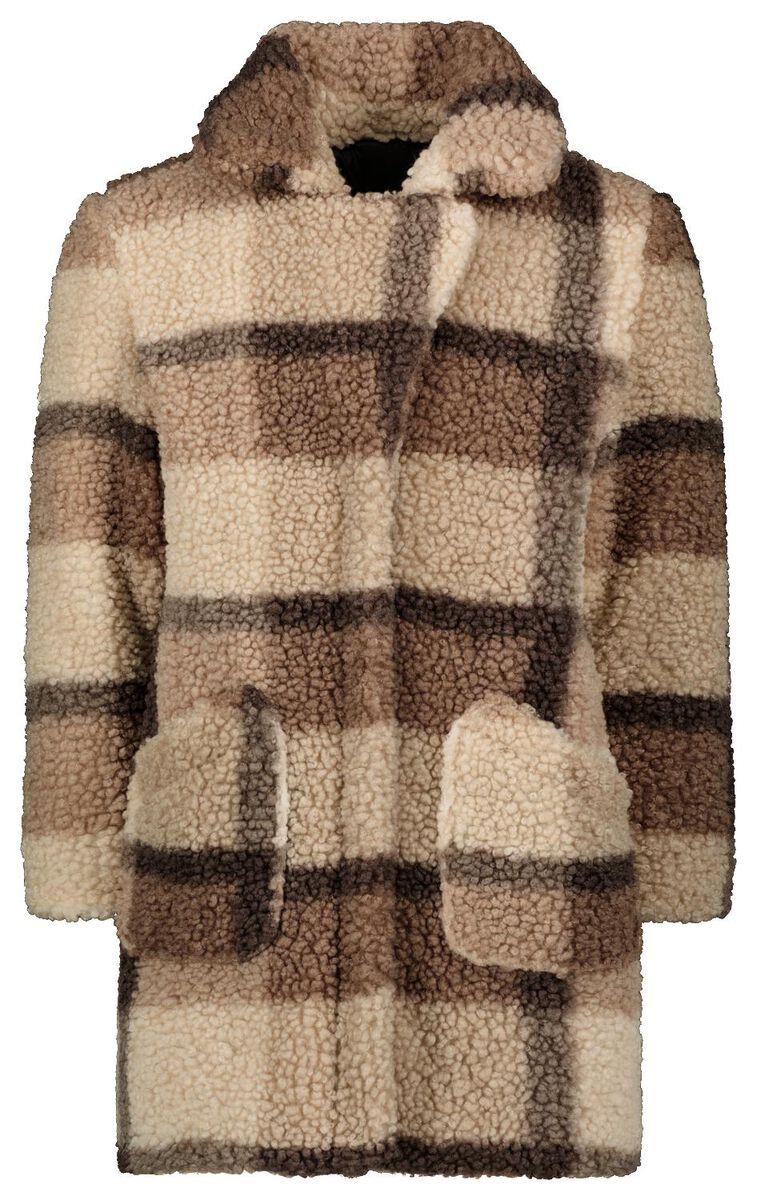 Teddy jas met ruit   Bruine winterjas voor meisjes