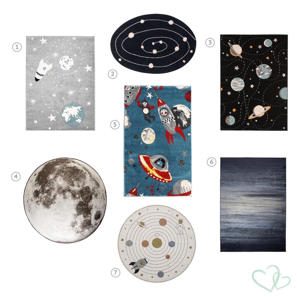 Vloerkleden in thema ruimtevaart