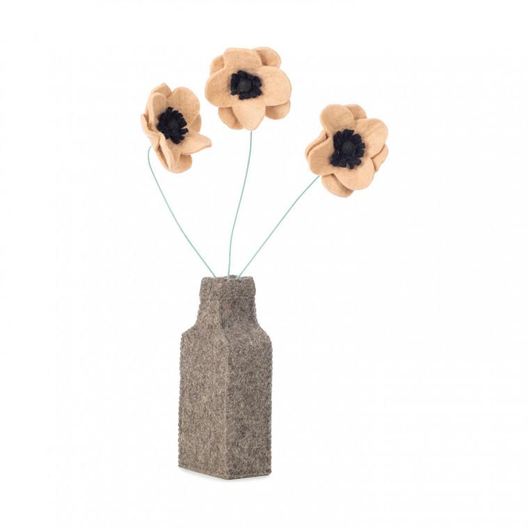 Vilten bloemenvaas met bloemen | Decoratie kinderkamer