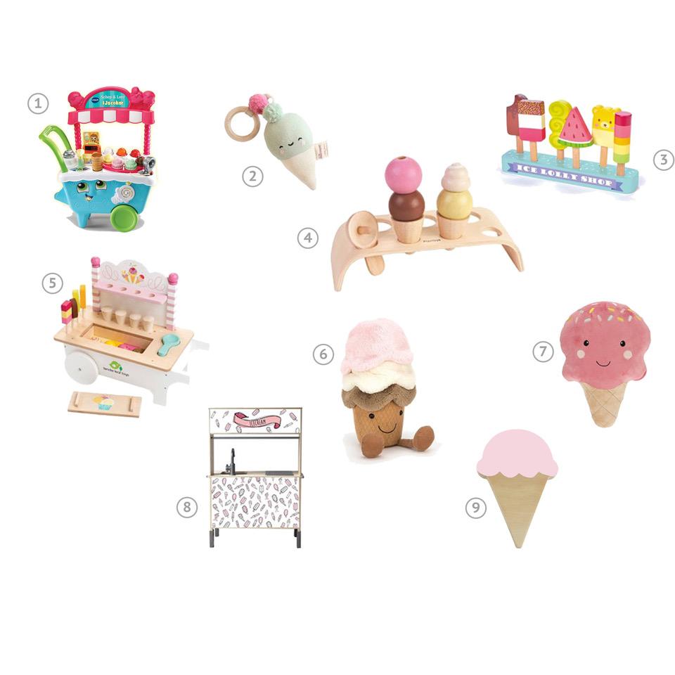 Heel veel leuke accessoires en speelgoed in thema 'ijs'. Denk aan ijscokar, kussens, rammelaar, houten speelgoed voor ijsjestijd.