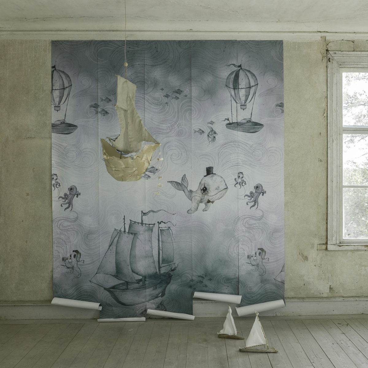 Ocean Stories kinderbehang van Jimmy Cricket | mooi behang voor kinderkamer
