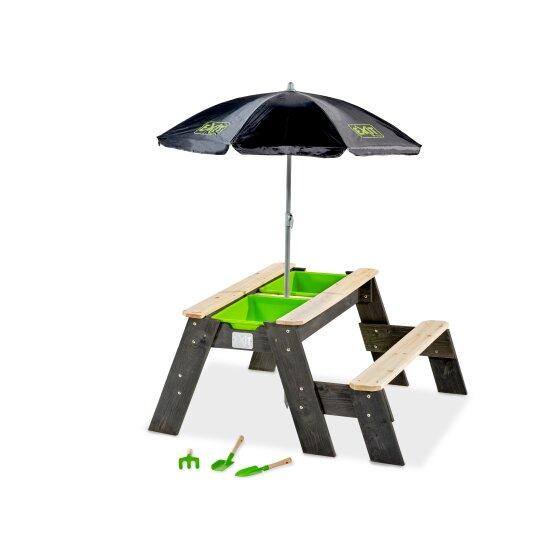 zand- en watertafel met parasol | Speelgoedtip voor in de tuin in de juni musthaves